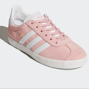 Pink/Blush/White Suede Adidas Gazelle Sneakers